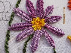 brazilian embroidery | double cast on stitch, french knots