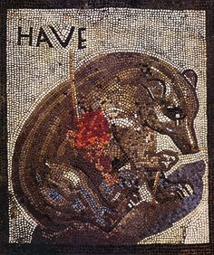 Bear wounded by a spear. Text above is the welcome HAVE. Roman mosaic from the House of the Bear (VII 2, 45) in Pompeii. Casa dell Orso Ferito