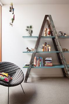Ladder shelves, beautiful idea