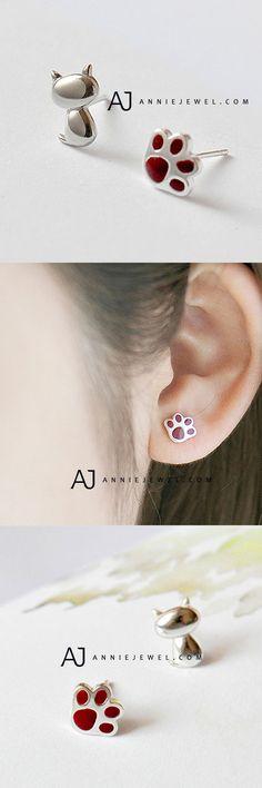 LOVELY! SILVER EARRING KITTY CAT PAW STUDS EARRING CUTE GIFT JEWELRY