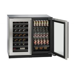 "U-LINE 36"" Stainless Steel Wine and Beverage Center with locking Door  Secondary Image"