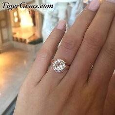 Newly listed! 💐4 carat 4 prong solitaire, sterling silver plated in 14k rose gold. This is also available in sterling silver and can be custom made in solid 14k white gold. 💐 Shop now at TigerGems.com 💐 ✨#handmade #diamondring #manmadediamond #proposal #bride #groom #paris