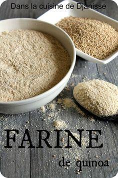 Faire sa farine de quinoa ou de riz complet, au mixeur, à vitesses très rapide mais en courtes périodes successives de broyage pour ne pas chauffer le produits  (plusieurs fois 1 à 2 mn selon la dureté du grain à broyer).