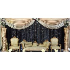 Stage décor: use white draping for clouds & blue fabric or streamers. I like the cream/midnight blue colour combination