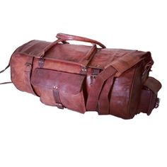 "Vintage Leather Travel Bag for Men and Women. 22"" x 9"" x 9"""