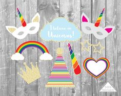 ~ Multipage PDF File ~ Includes all items shown ~ Formatted to print on 8 x pages ~ For printing on Cardstock ~ Print as many as you'd like! Coming Out Party, Rainbow Unicorn Party, Unicorn Photos, Unicorn Birthday Parties, 10th Birthday, Birthday Ideas, Dragon Party, Photo Booth Props, Party Printables