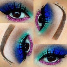 "Eyebrows: @anastasiabeverlyhills #anastasiabeverlyhills ""Brow Genius Kit"" Eyeshadows: @prettyzombiecosmetics #prettyzombiecosmetics ""Potion#5"" ""Sea Witch"" ""pink"" from ""Evil Mermaid"" stacker. Also used ""Cork"" from mac & #urbandecay ""Grind"" shadow.. Glitter: @eyekandycosmetics #eyekandycosmetics in ""Double Bubble""  @ jackie760"