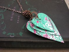 5 Stacked Heart Necklace.  Trendy 30 Inch.  DOUBLE-sided and Embossed.  AZ Tea. $15.95, via Etsy.
