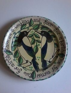 Handmade pottery wedding plate gift magpies by DancingHarePottery