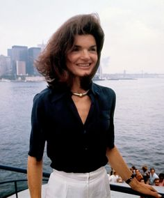 """bobbykennedy: """"Jackie Kennedy - Sur Le Staten Island Ferry at New York Harbor - 1976 """""""