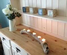 Totally stunning and unique piece of wood. Approx Bring a piece of the Cornish coast into your house with this beautiful driftwood tea light holder This beautiful smooth, twisting piece of wood holds 5 tea lights and will transform any room. Driftwood Furniture, Cute Furniture, Furniture Projects, Furniture Makeover, Furniture Design, Driftwood Art, Driftwood Centerpiece, Driftwood Candle Holders, Diy Candle Holders