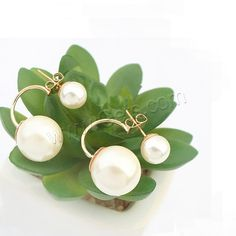 Double Faced Stud Earring, ABS Plastic Pearl. The pearls are very blight.
