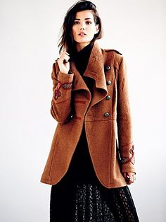 Free People Military Wool Coat. I love military coats for Fall. They look chic without effort.