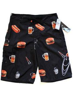 ONeill Boardshorts 28 BBQ Swim Trunks Hot Dog Hamburger Black #ONeill #BoardShorts #bbq #bbqclothing #hamburgers #hotdogs #beershorts #boardshorts