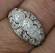 Edwardian Platinum 3 Stone Diamond Ring by myvintagediamondring...