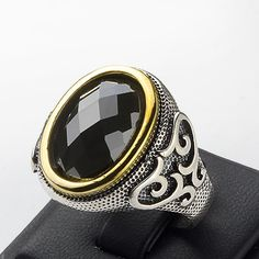 Silver Mens Ring Black Onyx Ring 11 us size 925 K by ATAjewels #menssilverring…