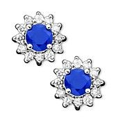 Royalty Inspired by Effy Collection 14k White Gold Earrings, Sapphire (5/8 ct. t.w.) and Diamond (1/4 ct. t.w.) Stud