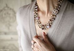 Soft Pink & Grey Necklace