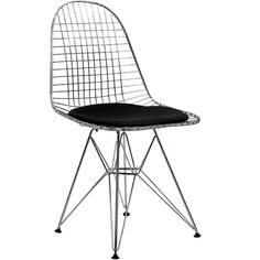 Amazon.com - LexMod Wire Tower Side Chair with Black Vinyl Cushion - Dining Chairs $139