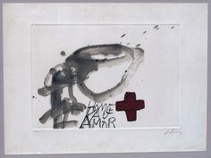 ANTONI TÀPIES  Creu Roja  Gravat, Ed. 61 /75  56 x 76 cm.