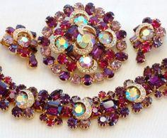 Kramer Bracelet Earring Brooch Rhinestone Parure | eBay