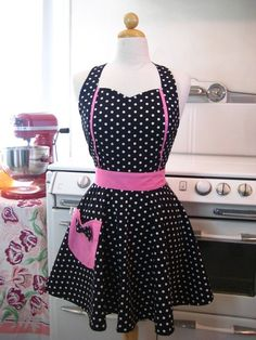 Retro Apron Sweetheart Neckline Black and White Polka by Boojiboo