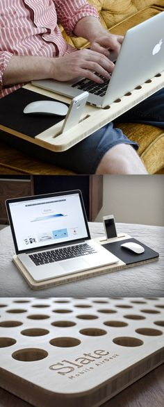 The Mobile AirDesk is a great gift idea for those who spent endless hours in front of their laptop screen. #wooden #laptop #stand www.MyWonderList.com More