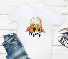 Excited to share this item from my shop: Baseball Mom Sunflower T Shirt - tshirt with saying - baseball mom tee - t-shirt sayings Cute Sayings For Shirts, Funny T Shirt Sayings, Funny Shirts, Volleyball Mom, Silk Touch, Watercolor Logo, Sports Mom, Baseball Mom, Love T Shirt