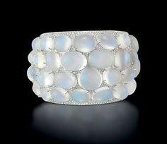 Anna Hu - The Moonlight Bangle - pavé set diamonds and a cluster of moonstones