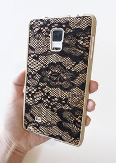 Victoria's Secret Inspired case For Samsung Galaxy Note Edge Black Lace Wood Cork TPU mobile accessories cellular cell phone smartphone cover handmade DIY by Yunikuna