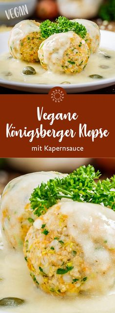 Königsberger Klopse with caper sauce - vegan - Rezepte - Easy Recipes Easy Smoothie Recipes, Easy Salad Recipes, Easy Dinner Recipes, Holiday Recipes, Vegetarian Recipes, Easy Meals, Healthy Recipes, Meat Recipes, Vegan Smoothies