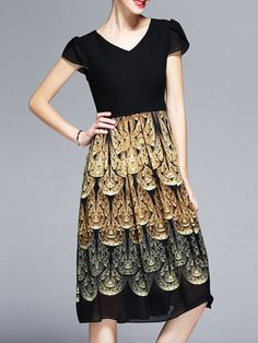 Short Sleeve V Neck Printed Vintage Chiffon Summer Midi Dress