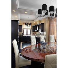"""""""Кухонная техника и и шкафы смотрятся очень оригинально в черном цвете и прекрасно гармонируют со столовой. Подвесная люстра в столовой и кухне """"Ilfari""""…"""""""