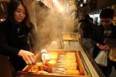 Kamaboko is made from fish paste, and it is very popular food in japan. Located : Nishiki Ichiba Market, Kyoto.