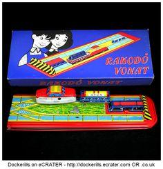 Rakodo Vonat, Lemezarugyar Budapest, Hungary (1 of 2). Ex Technofix No. 297 Automatic Loader. Vintage Tin Litho Plate Toy. Wind-Up / Clockwork Mechanism.