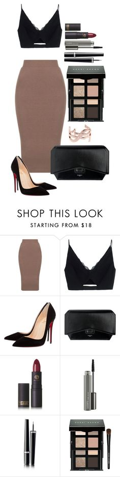 """Untitled #1596"" by fabianarveloc on Polyvore featuring Versace, Christian Louboutin, Givenchy, Lipstick Queen, MAC Cosmetics, Chanel, Bobbi Brown Cosmetics and Yves Saint Laurent"