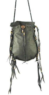 Vanessa Mooney Grey Beaded Medicine Bag Crossbody Handbag