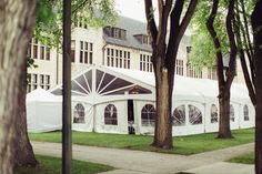 """Tent nestled into the """"castle"""" at CMU"""