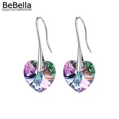 BeBella crystal heart pendant eardrop earrings Made with Swarovski Elements for 2016 women mother's day gift //Price: $13.71 & FREE Shipping //     #womanparadise