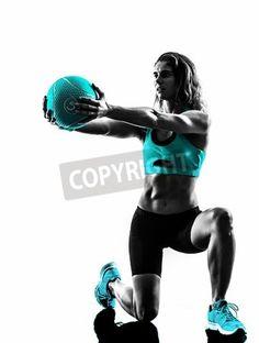 one caucasian woman exercisi