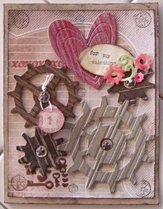Grunge bg paper, distress inks, key in bronze heat emboss, Glossy Accents. Steampunk Cards, Steampunk Heart, Steampunk Witch, Steampunk Goggles, Valentine Day Love, Valentine Day Crafts, Valentines, Valentine Cards, Steam Punk Jewelry