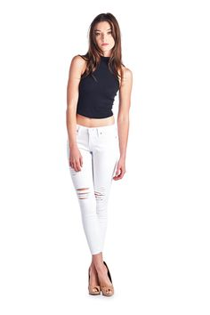 Parkers Jeans - D5333 - White  #frayed #denim #ankle #skinny #distressed #ripped #jeans #frayedhem #midrise #lookbook