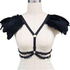Harajuku ailes de plumes épaulette pastel goth harnais, Noir plume wing harnais cage soutien - gorge harnais avec du matériel d'argent