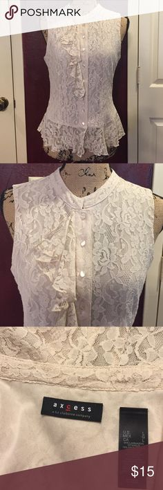 """Axcess off white lacy top sz L Sexy little button down top!  Bust 38"""" & length 22"""".  Bundle 3 or more & save! axcess a liz claiborne company Tops"""
