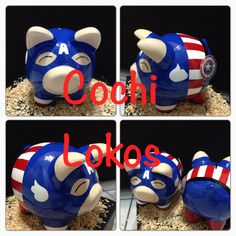 Alcancía decorada capitán america Boss Light Year, Pig Bank, Penny Bank, Craft Projects, Projects To Try, Baby Shawer, Cute Piggies, Pottery Painting, Color Mixing