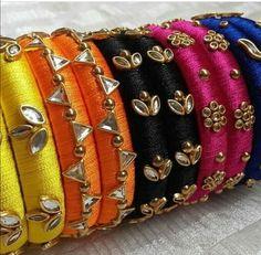 Saved by radha reddy garisa Silk Thread Bangles Design, Silk Thread Necklace, Thread Jewellery, Fabric Jewelry, Diy Jewellery, Kundan Bangles, Silk Bangles, Bridal Bangles, Bangles Making