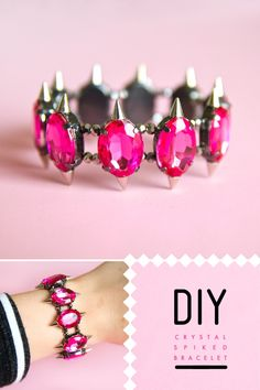 do it yourself, pink crystals, studs, bracelet, designer inspired, beads