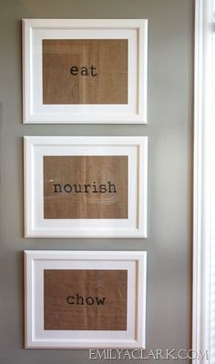 easy wall art--stamp words on paper bags and frame