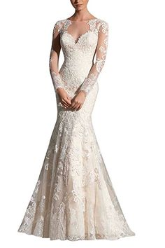 293e814ce0 MiLano Bride Grace Illusion Neck Long Sleeves Mermaid Floral Wedding Dresses-loove  this!