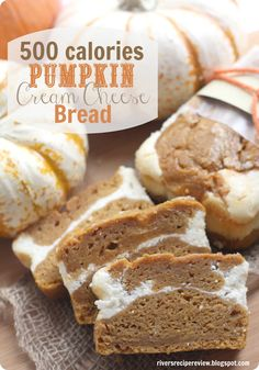 500 calorie Pumpkin Cream Cheese Bread @Abigail Phillips Regan Truax:/... This is made with better ingredients like applesauce and wheat flour and is only 500 calories for the entire loaf! And is so delicious!